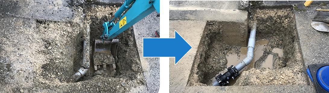 排水管の修繕工事の様子